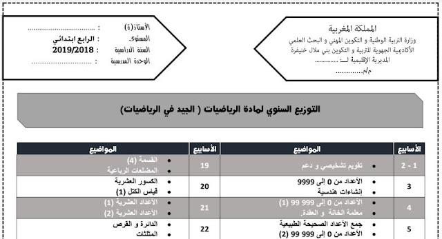 التوزيع السنوي لمرجع الجيد في الرياضيات المستوى الرابع