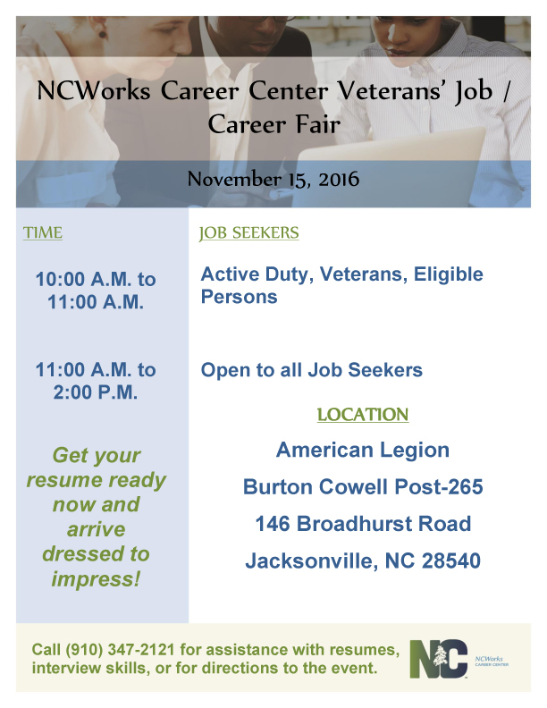 Ncworks Career Center Veterans Job Career Fair