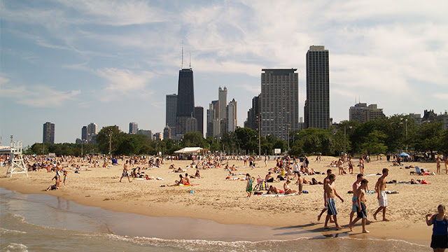 """Praias"" no Lake Michigan de Chicago"