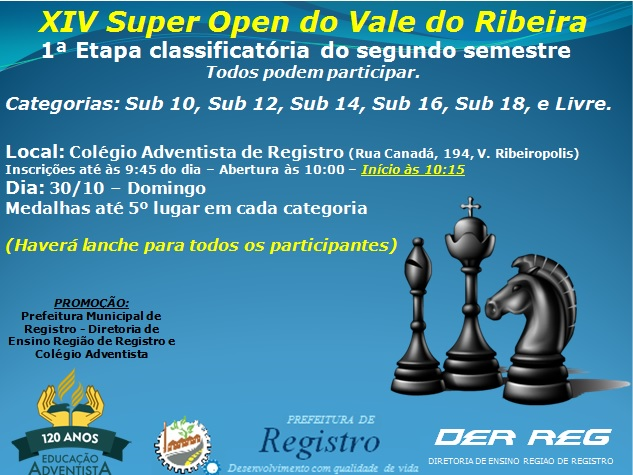 Registro recebe 1ª etapa classificatória do Super Open de Xadrez