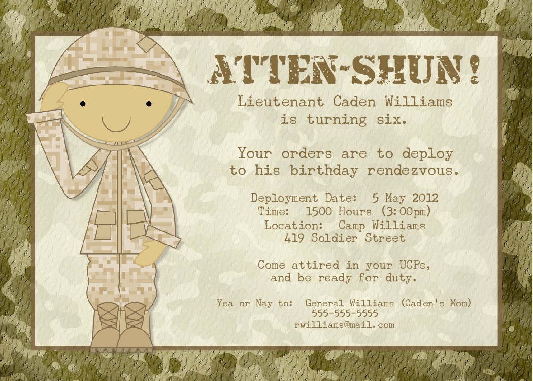 Army Wedding Invitations: Bear River Photo Greetings: Soldier Birthday Party Or Baby
