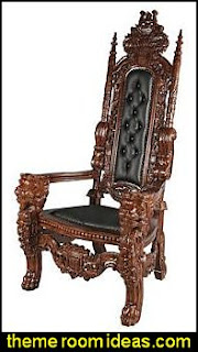 The Lord Raffles Faux Leather Lion Throne Chair