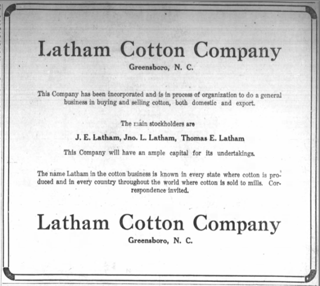 latham cotton company announcement 1922