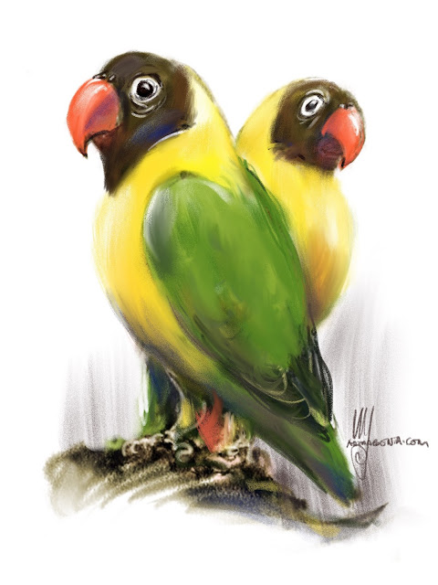Yellow-collared Lovebird bird painting by Ulf Artmagenta