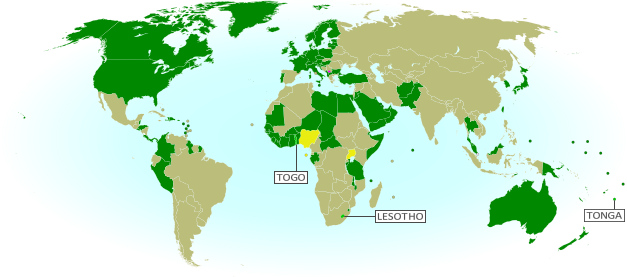 Map of countries that recognize the Republic of Kosovo as an independent state, updated for July 2014, with most recent additions (Togo, Tonga, Lesotho) and disputed recognitions highlighted