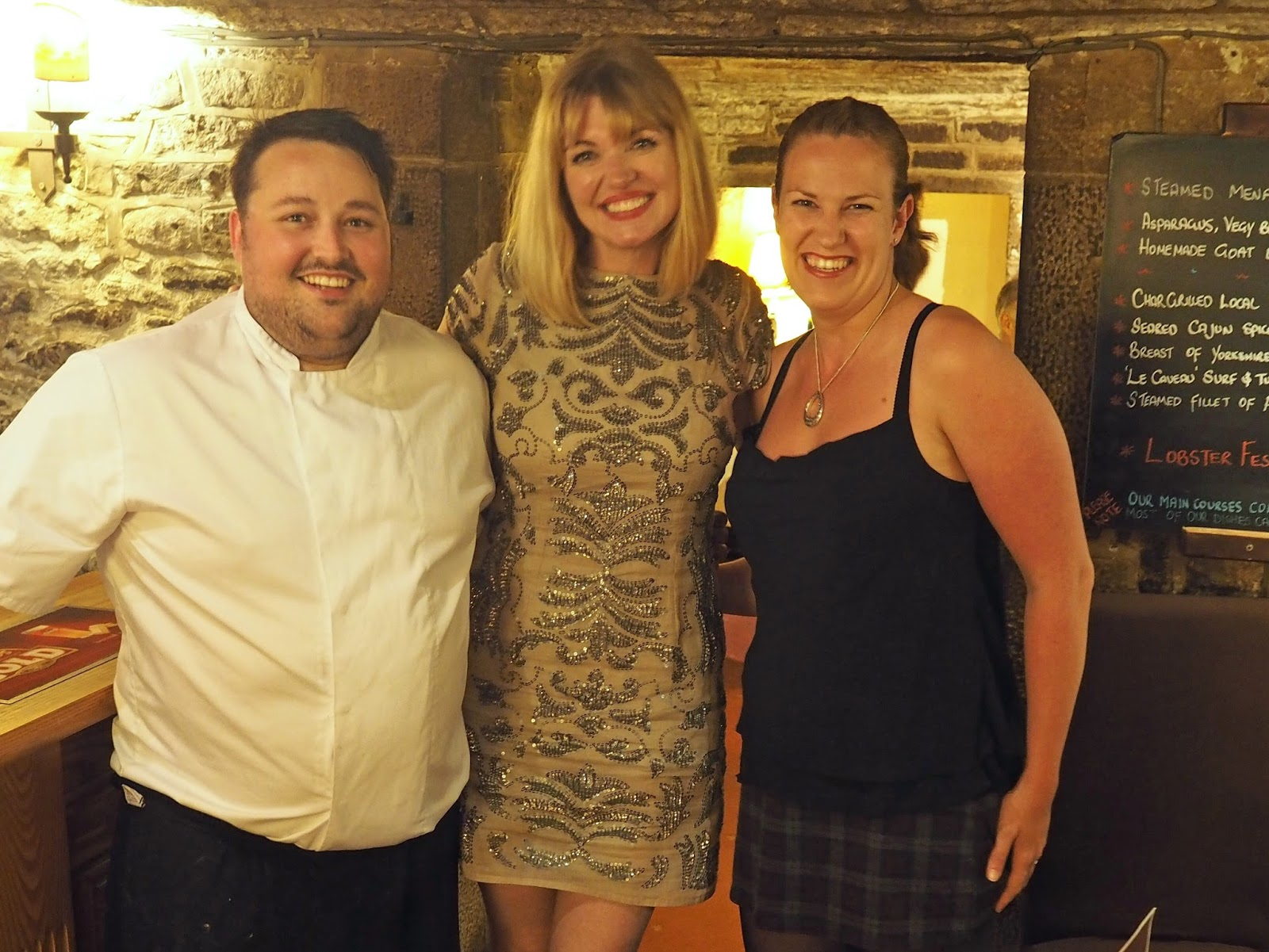 Elizabeth Yeowart with Mark Byron, head chef and owner of Le Caveau Skipton and Jamie, front of house