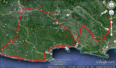 Rute keliling Jalan Lintas Selatan Tasikmalaya-Pangandaran-Cilacap