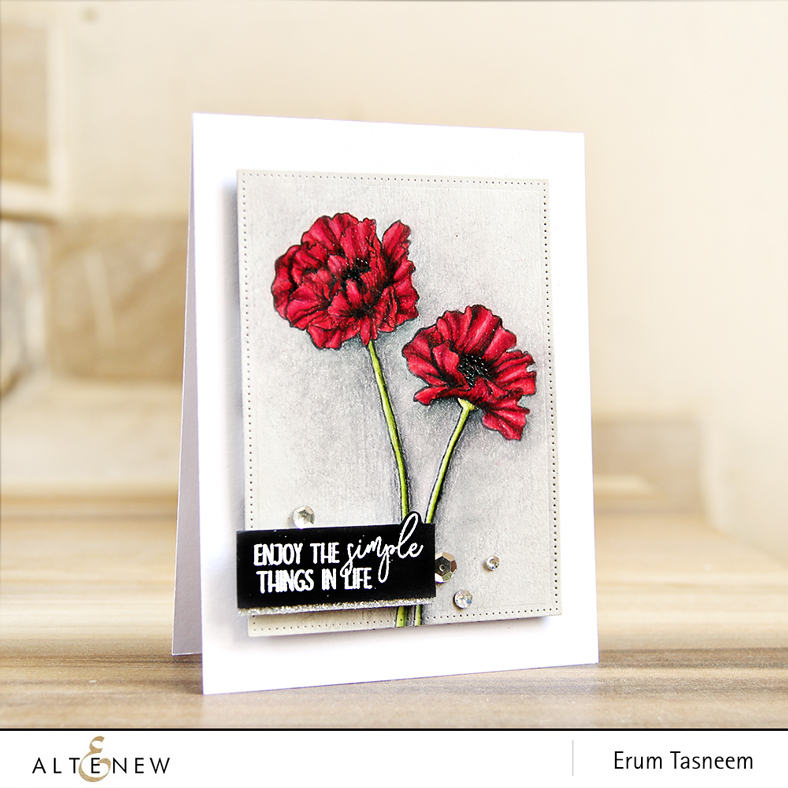 Altenew & Ellen Hutson UWF Poppy Field pencil coloured with Prismacolors by Erum Tasneem | @pr0digy0
