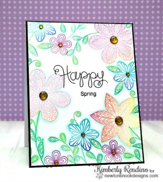 Happy Spring Flower Card by Kimberly Rendino | Beautiful Blossoms Stamp set by Newton's Nook Designs #newtonsnook
