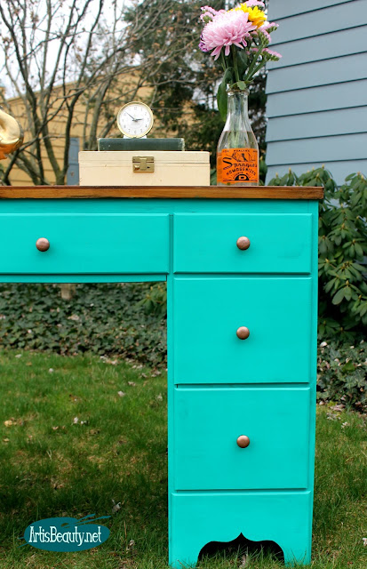 Treasure green deco art chalky finish Bohemian Boho Style Vintage Desk makeover painted before and after