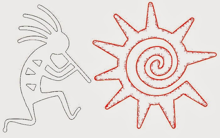 Kokopeli and sun tattoo stencil