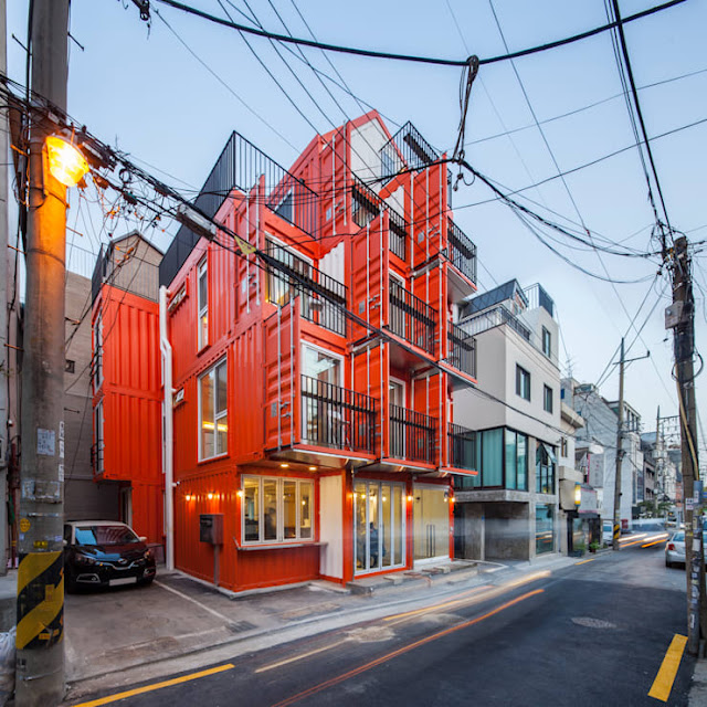 Shipping Container 4 Story House - Office, Cafe and Hotel in Seoul, South Korea 3