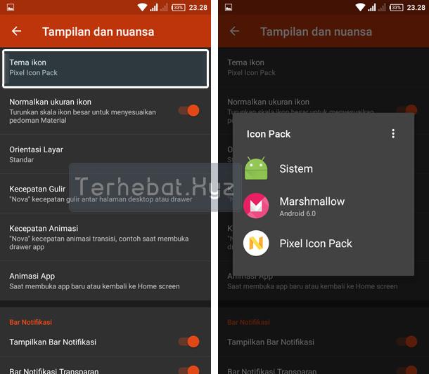 cara mengaktifkan icon pack di android