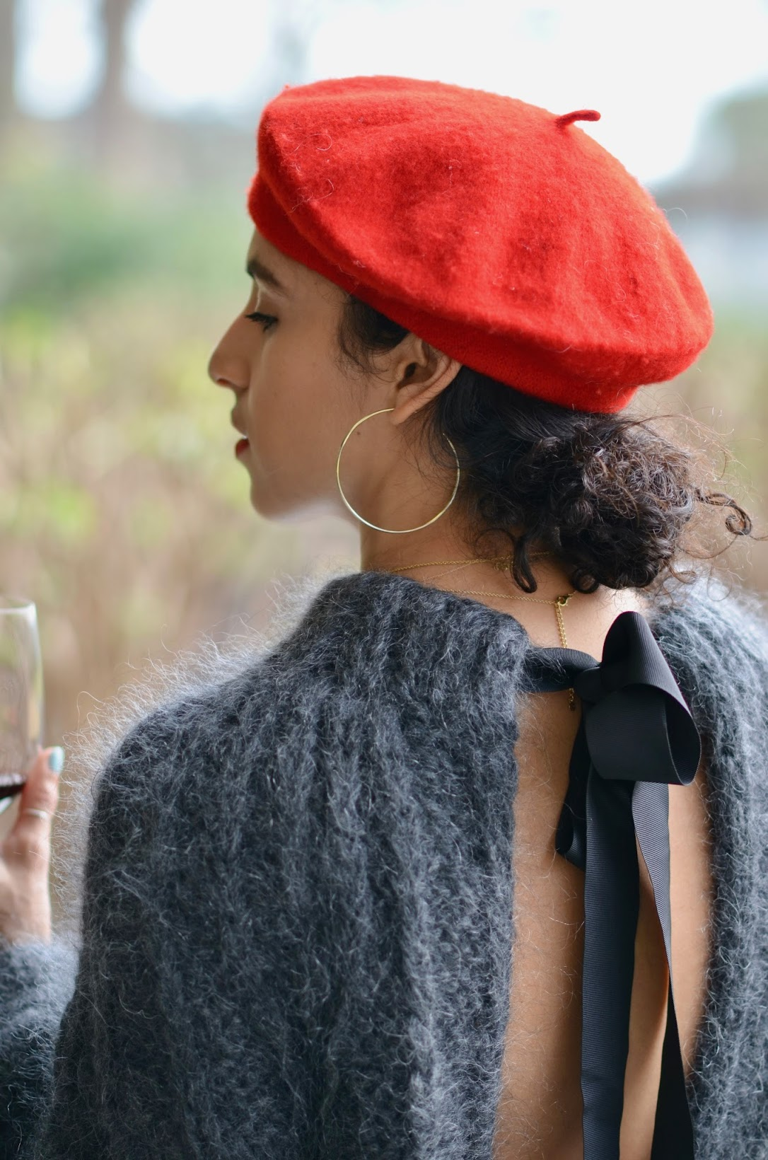 St. Supery St. Helena, St. Supery winery, french vibes, french girl vibes, red beret, red lipstick, St. Helena, wine tour in wine country, Napa Valley, St. Supery Malbec, Ganni mohair sweater, Mejuri necklace