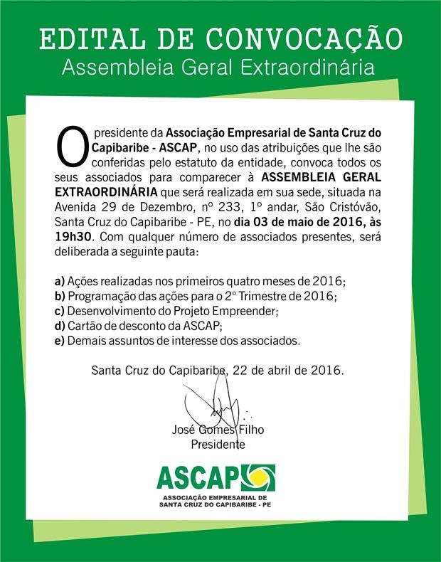 Edital de Convocação para Assembleia Geral Ordinária da ASCAP
