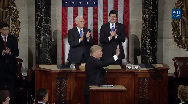 President Donald Trump State of the Union 2017 ending wave Joint Address to Congress conclusion