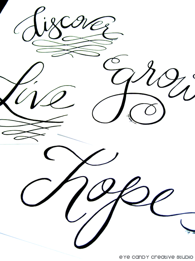 discover, grow, live, hope, #OLW, one little word, hand lettering, hand lettered art prints