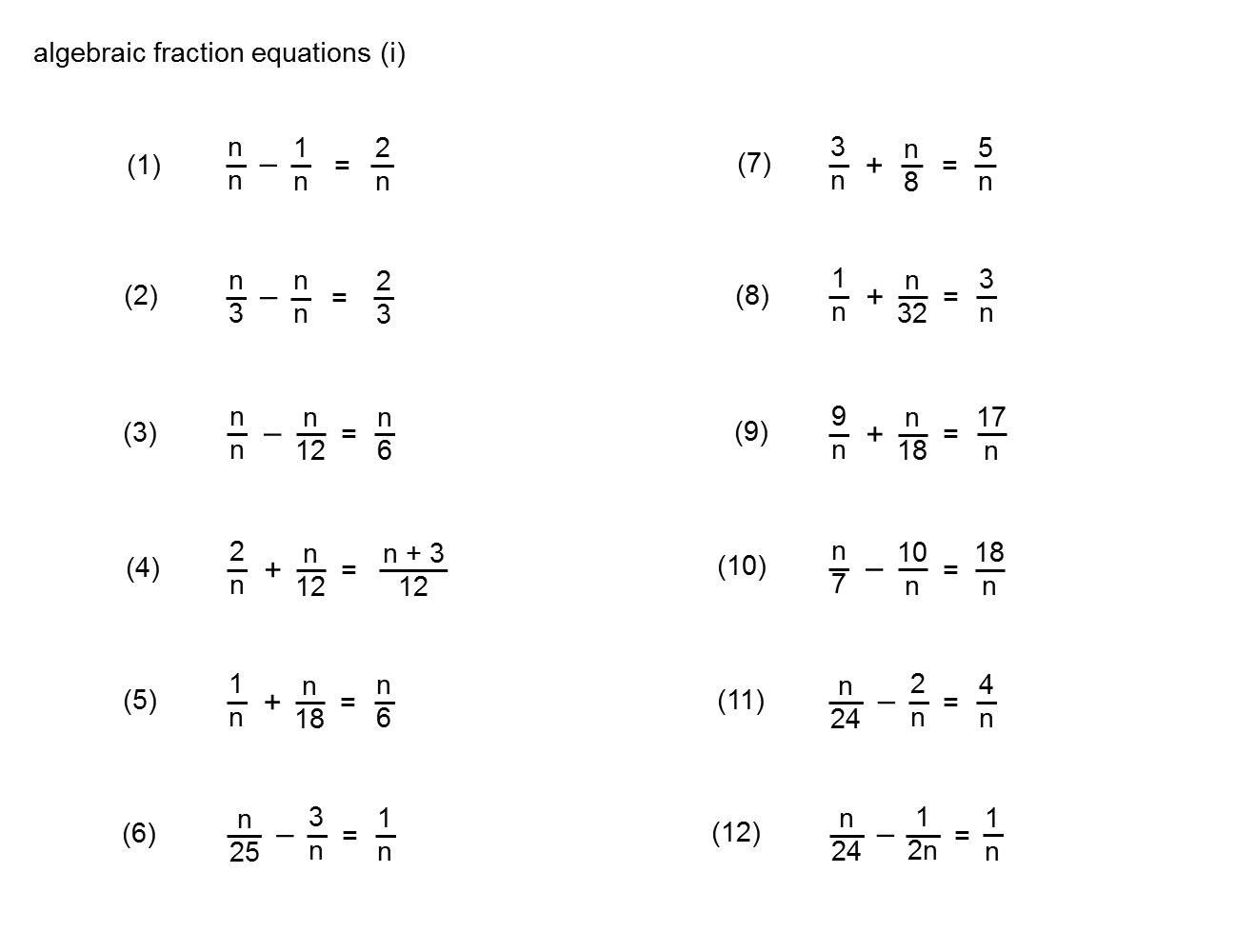 Gcse Maths Fractions Questions