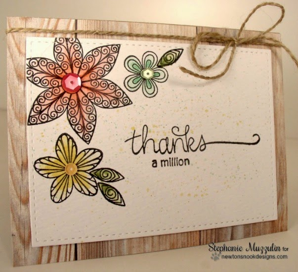Thank you Flower card by Stephanie Muzzulin  | Beautiful Blossoms stamps by Newton's Nook Designs
