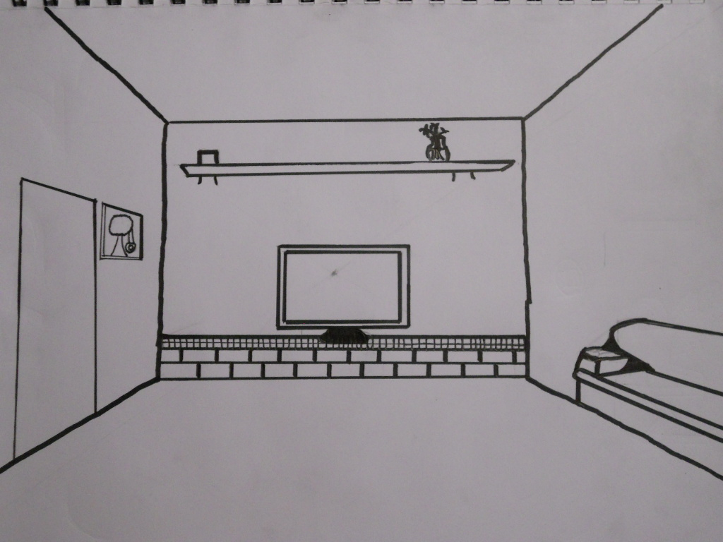 William schipke 39 s blog one point perspective excercise 7 - Two point perspective living room ...