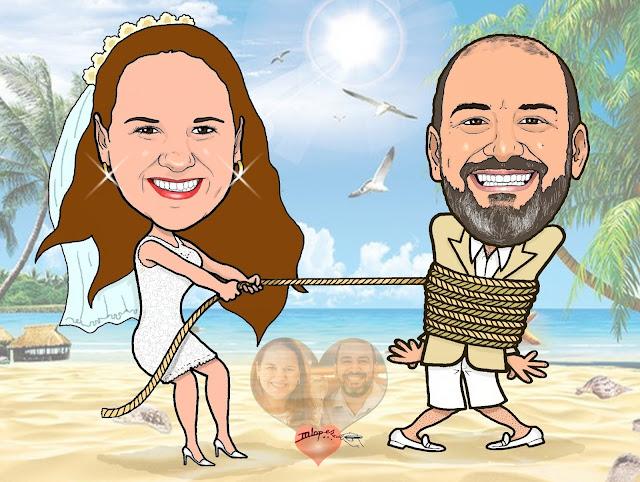 Casamento na praia - Caricaturas M2LOPES