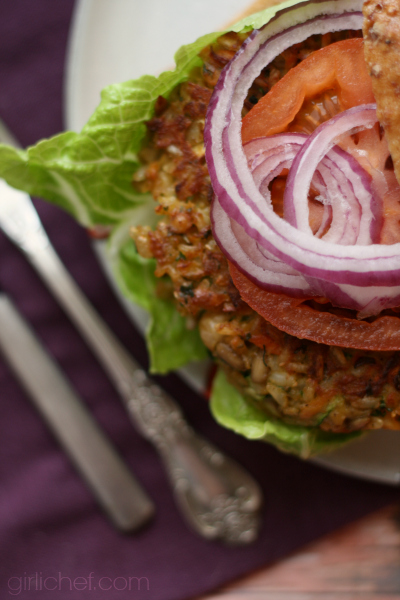 Garbanzo Brown Rice Burgers | www.girlichef.com