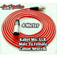 kabel mic 4 meter male to female kabel merah, jack canon neutrik