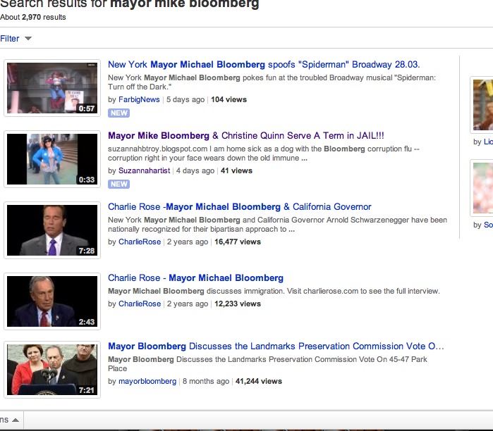 mayor bloomberg king of new york: YouTube Search Engine