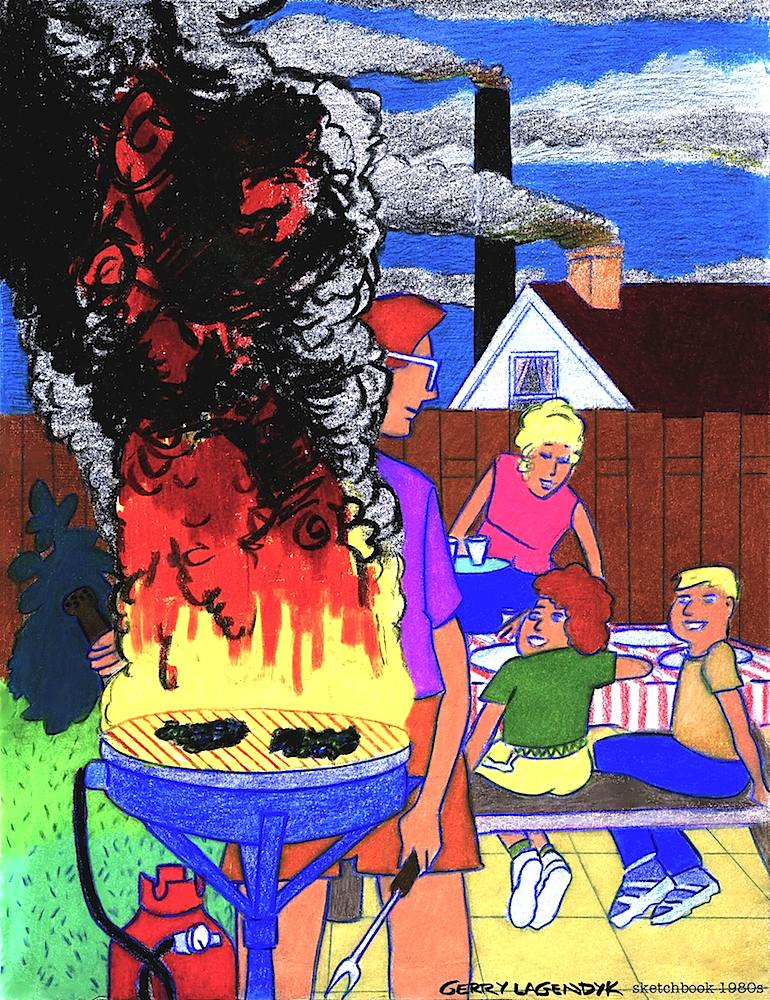 Gerry Lagendyk cartoon about an overcooked family BBQ