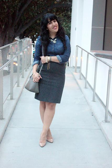Banana Republic Denim Button Down D&G Wool Skirt Crossroads Trading Co Outfit