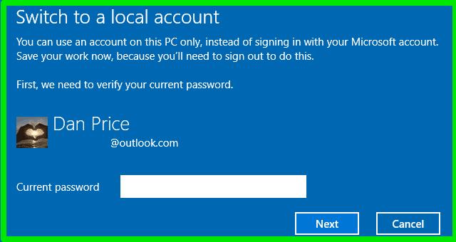 إزالة تسجيل دخول حساب ميكروسوفت