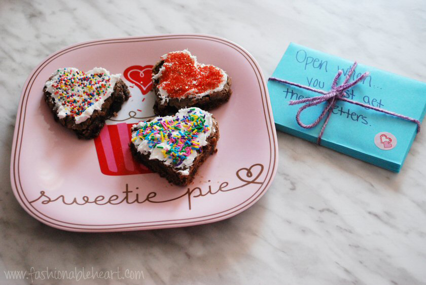 heart brownies open when letters love valentines