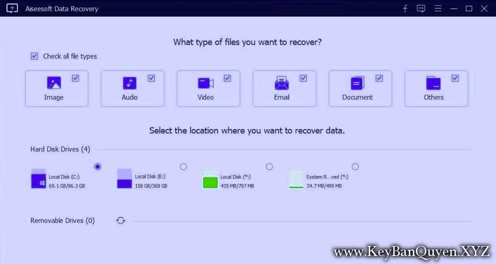 Download Aiseesoft Data Recovery 1.1.12 Full Key, Phục hồi dữ liệu USB,thẻ nhớ máy quay,ổ đĩa di động.