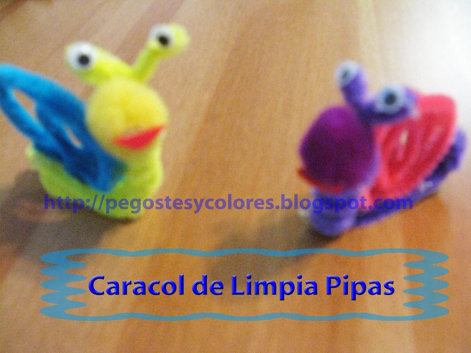 Pegostes y colores caracoles de limpia pipas for Manualidades para ninos con lana