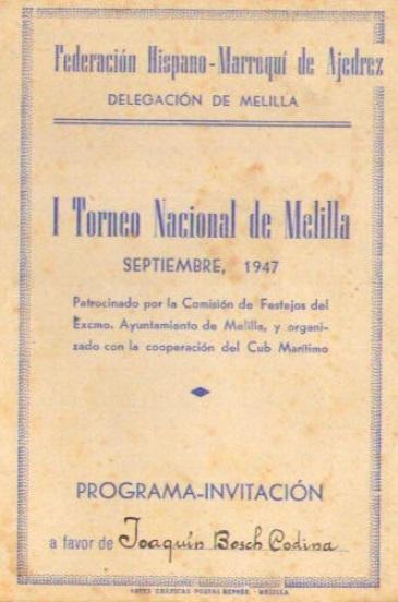 Portada del díptico del I Torneo Nacional de Melilla 1947