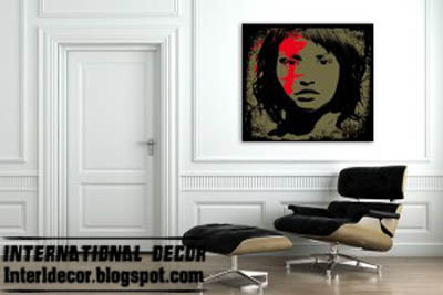 black pop art paining with rouge spot, modern pop art painting colors