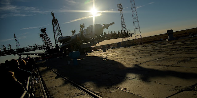 Russian Soyuz rocket is rolled out by train to the launch pad, Tuesday, Oct. 9, 2018 at the Baikonur Cosmodrome in Kazakhstan. Credit: NASA/Bill Ingalls