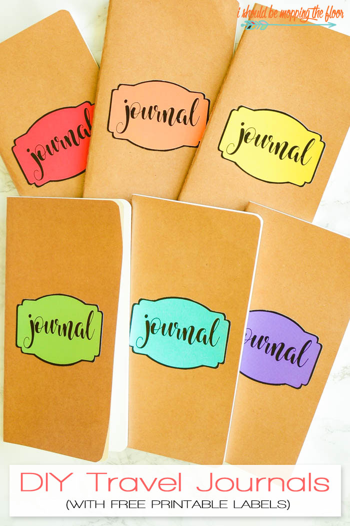 DIY Travel Journals | Fun little journals perfect for vacation memories. Download the free printable labels in the post to make these.