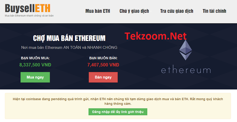Hướng dẫn mua (hoặc bán) Ethereum (ETH) tại Việt Nam qua NH Vietcombank