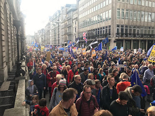 Thousands of anti-Brexit protesters on the People's March in London