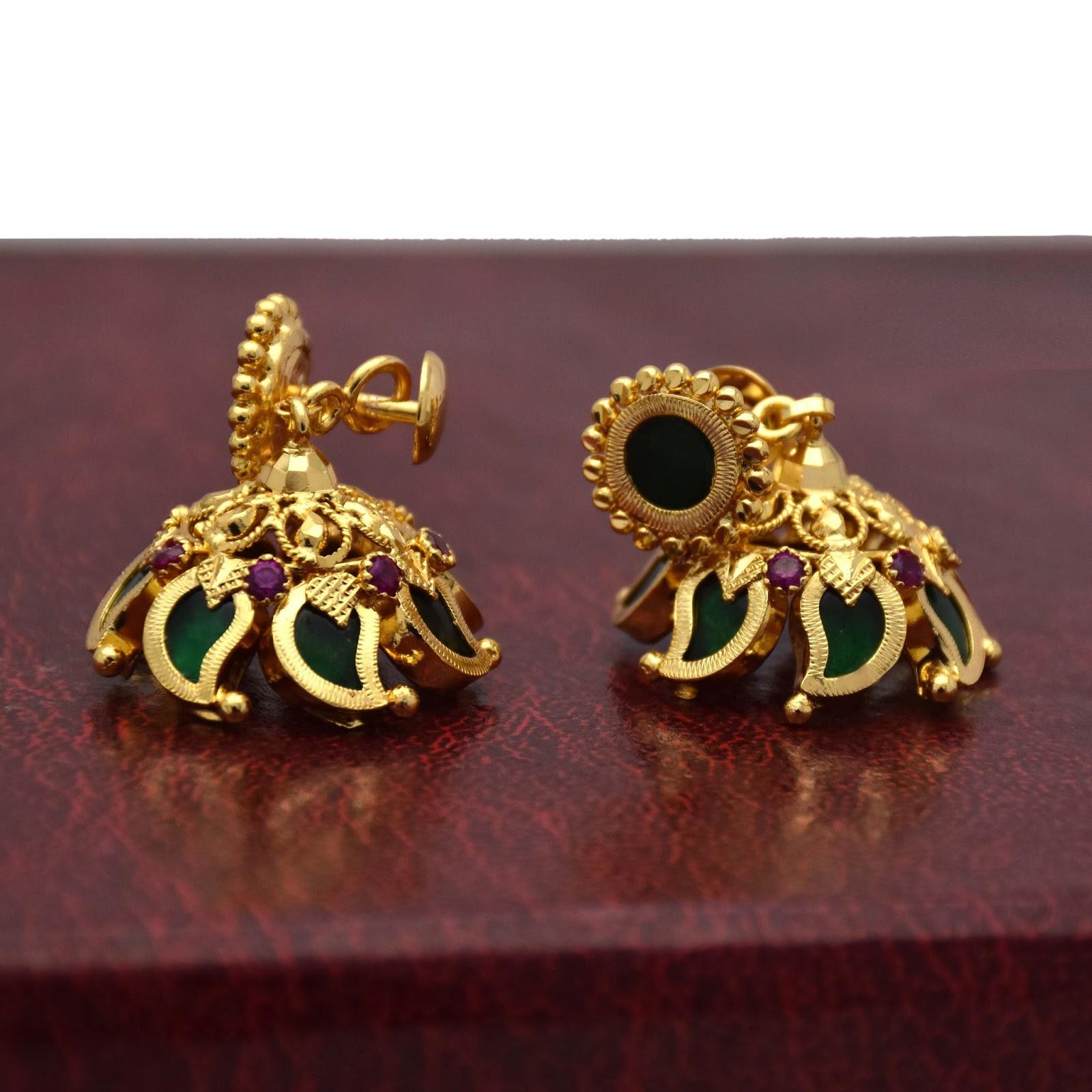 Buy Traditional Green Mango Jimikki Earrings Online Kollam ...