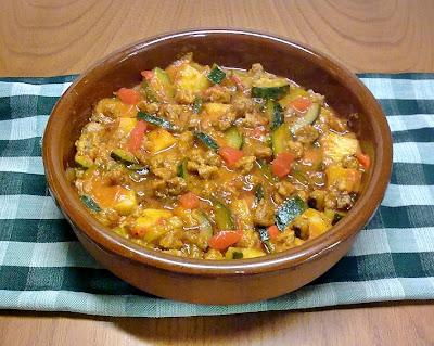 Cazuela de Calabacin con Carne de Soja