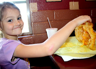 Tessa tried the children's cheese fry bread meal, which is a lot like an open-face quesadilla, except on fry bread. The Fry Bread House serves authentic Native American food and is owned and operated by the Tohono O'odham Nation of southern Arizona. While we enjoyed our entire meal, we especially liked the chocolate fry bread dessert...fry bread with chocolate syrup drizzled all over the top. Mmm!