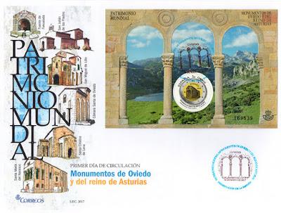 Sobre con Matasellos de Presentación de la Hoja bloque de Monumentos asturianos del patrimonio de la Humanidad