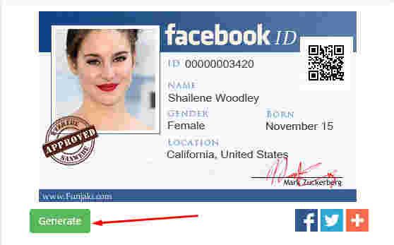 generate facebook id card