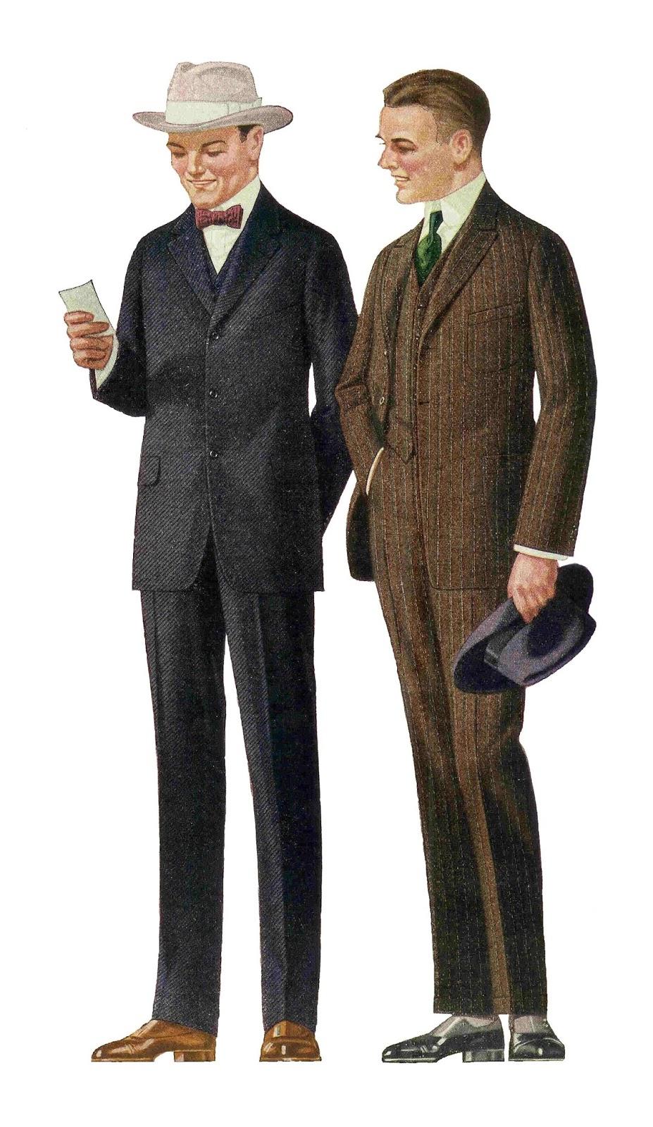 Antique Images: Free Fashion Clip Art: 1915 Men's Suits 2 ...