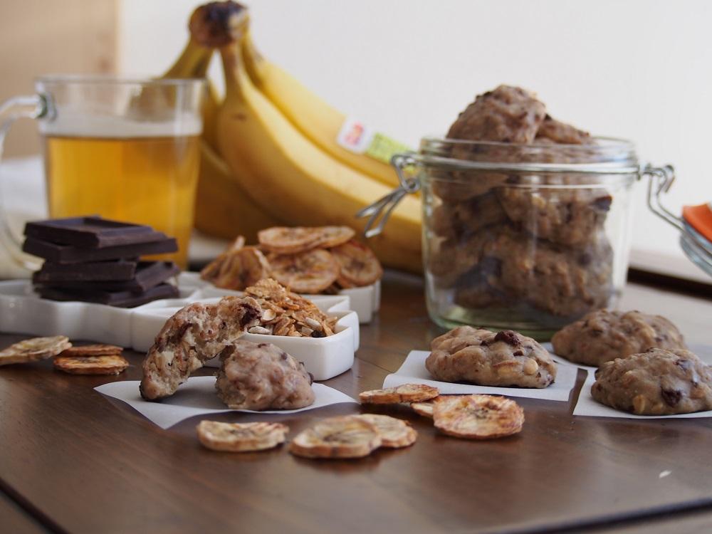 Biscotti banane e cioccolato + chips di banane
