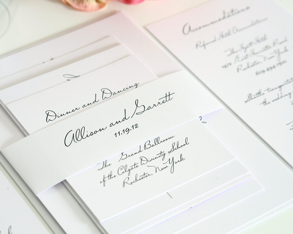 White Wedding Invitations: The Local Louisville KY Wedding