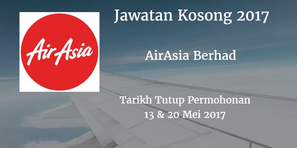 Jawatan Kosong AirAsia Berhad 13 & 20 Mei 2017
