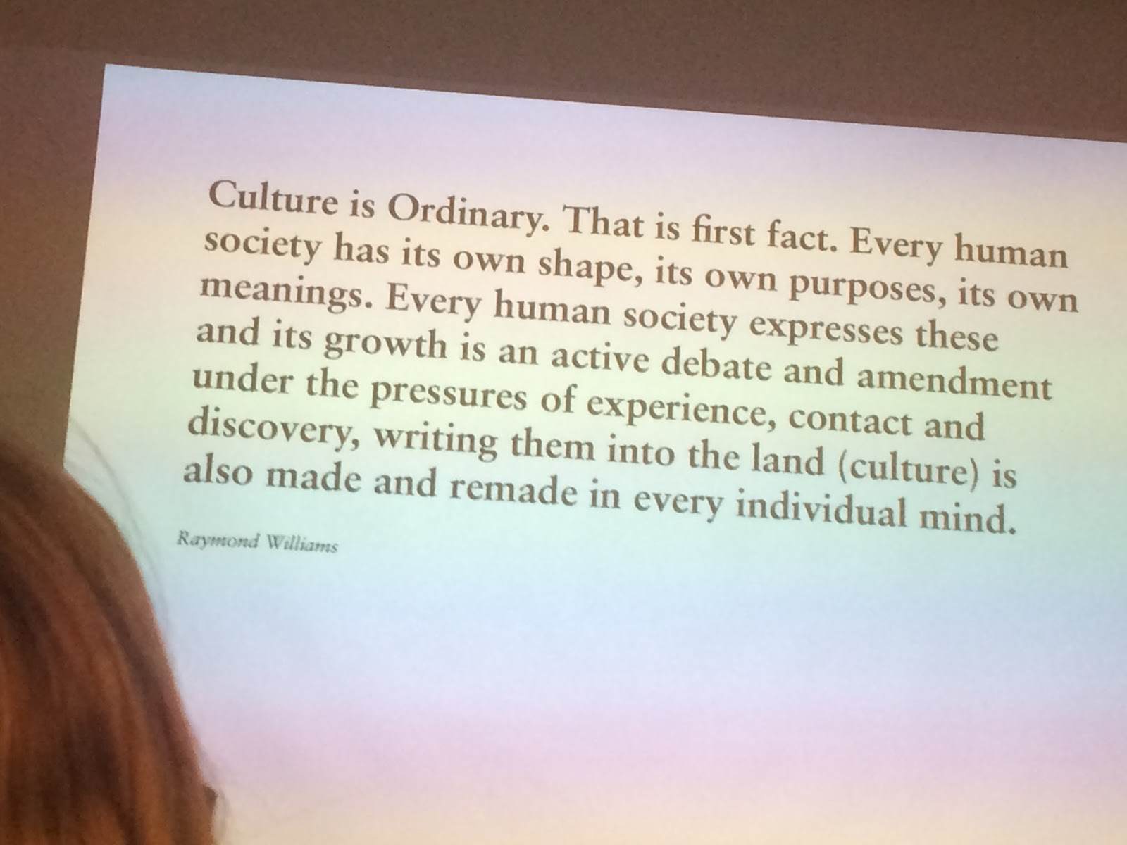 culture is ordinary essays Bill schnupp abstract: raymond williams' culture is ordinary i summary williams opens his piece with a short account of revisiting his childhood home in wales, accompanied by a brief recollection of his personal history—a rhetorical strategy he employs with frequency in the piece, and not unlike what we saw in miller's work.